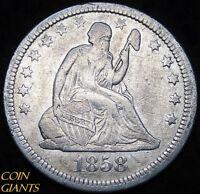 1858 Seated Liberty Quarter Dollar Pre Civil War Date Year Silver Coin EF 25c