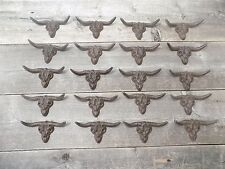20 STEER SKULL Drawer Pulls Handles Cast Iron Rustic Longhorn Texas Country Cow