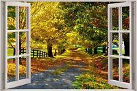 Cheap 3D Window view Beautiful Leafy Lane Wall Sticker Film Decal Wallpaper S97