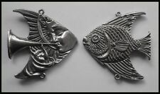 PEWTER CHARM #1105 ANGEL FISH 2 Bail JOINER (51mm x 49mm) double sided3