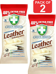 140 X Green shield Leather Wipes Conditioning Surface Wipes For Sofa, Car, Chair