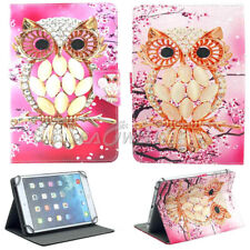 """US For 7.0 7"""" 10.1"""" inch Tablets Universal PU Leather Case owl Pattern Cover"""