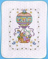 Cross Stitch Kit ~ Tobin Balloon Ride Quilt Cute Animals and Baby #T21767