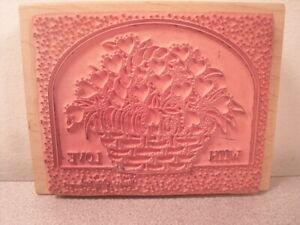 With Love Flower Basket Rubber Card Stamp Linda Grayson Stamps Happen