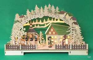 LED Illuminated Arch Village Scene With Singer 16 1/2x11x3 11/16in 49430 Cheap