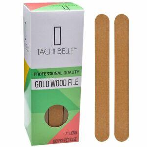 "Tachibelle Made in Korea Professional Gold Wood Emery Board Nail File 7"" 100 Pcs"