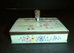 Vintage Chinese Cloisonne Light Green Silent Butler Crumb Tray Incense Box