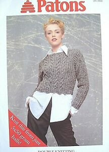 PATONS Q5350 - LADYS DK CABLE SWEATER, TOPS & CARDIGAN KNITTING PATTERN 28/38in