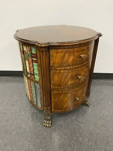 Maitland Smith Regency Style Round Occasional Table Faux Books Design & Drawers