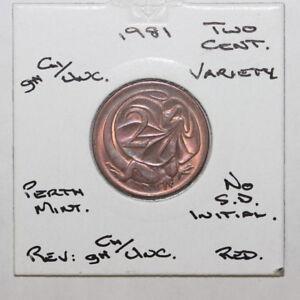 1981 Australia 2 c Two Cents NO SD UNC (JF1C5/22)