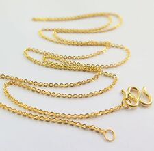 """New 999 Real 24K Yellow Gold Necklace Woman Perfect O Link Fashion Chain 19.7""""L"""
