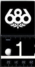 686 SNOWBOARDING STICKER Six Eight Six 2 inch Square Black/White Snowboard Decal