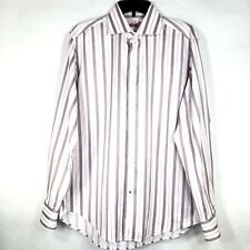 Robert Graham Multi-Color Pink Gray Striped Embroidered Flip Cuff Shirt 42/16.5