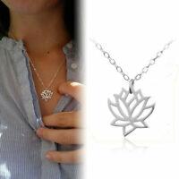 Lotus Blume Halskette  Gold Silber Anhänger Kette Yoga Chic Damen Schmuck