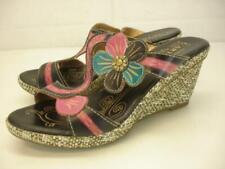 Women's 7.5 8 38 L'Artiste by Spring Step Largo Sandals Black Wedge Heels Flower