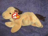 RETIRED 1995 Ty Beanie Baby Derby Horse Rare PVC Ty Deutschland