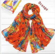 Candy Girls Womens Long Crinkle Soft Scarf Wrap Voile Wraps Shawl Orange Juse SZ