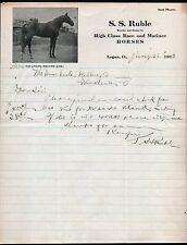 1913 Race Horse Breeder S S Ruble - Kid Logan Champion Logan OH Letter head RARE