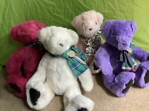 "Lot 4 Gund Victorias Secret 1992 Plush Teddy Bears 14"" Purple White Pink Blush"