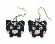 "#673 Adorable Black w/Pink Flowers Piggy Charm Dangle Earrings ""Amazing Detail"""