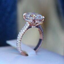 Certified 2.2Ct Forever One Moissanite Hidden Halo 14k Rose Gold Engagement Ring