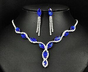 Bridal Prom Wedding Rhinestone Deep Blue Necklace Jewellery Earring Set