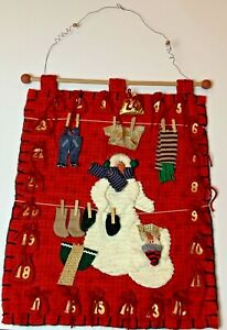 Vintage, Handmade Advent Christmas snowman Calendar count down bags to put candy