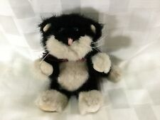 """The Boyds Collection Plush Black and White Cat 6"""" 1990-93 Green Eyes, Hinged, D2"""