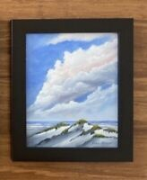 """8 x 10 ORIGINAL ACRYLIC """"COTTON CLOUDS"""" ART PAINTING CANVAS BOARD FRAMED"""