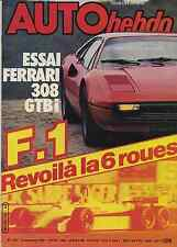AUTO HEBDO n°291 du 5 Novembre 1981 WILLIAMS F1 6 roues FERRARI 308 GTBi