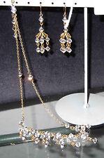 24ct GOLD CLAD CRYSTAL NECKLACE & EARRING SET, DESIGNER, BRAND NEW, AUSTRALIA