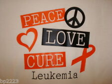 PEACE, LOVE, CURE LEUKEMIA Cancer, T-Shirt w/Matching Button NEW, Adult XL