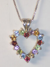 NEW STERLING SILVER MULTI STONE HEART NECKLACE