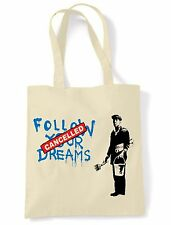 BANKSY FOLLOW YOUR DREAMS CANCELLED TOTE  SHOULDER  SHOPPING BAG