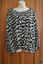 PRINCIPLE BEN DE LISI BLOUSE TOP SIZE 16  BLACK WHITE GREY