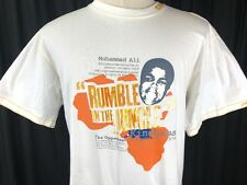 New Vintage Platinum Fubu Muhammad Ali Rumble in the Jungle Tee Shirt White Sz L