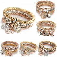 3pcs Animal Heart Crown Crystal Women Handmade Wristband Bracelet Bangle Set New
