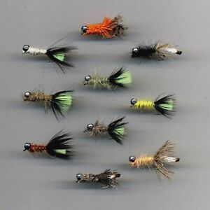 Trout Flies: Peeping Caddis Weighted x10 Size 10 L/Sh hooks 30mm long (code 532)