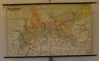Wandkarte Brandenburg-Preussen 211x129cm ~1900 vintage prussian history wall map