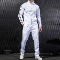 Men Sport  Coat Tracksuit Jogging Top Bottom Athletic Sweat Suit Trousers Pants