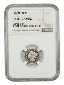 1868 3cN NGC PR 67 CAM - Gorgeous Cameo Gem - 3-Cent Nickel - Gorgeous Cameo Gem