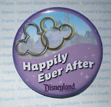 HAPPILY EVER AFTER - MICKEY & MINNIE EARS INTERLOCKED DISNEYLAND SOUVENIR BUTTON
