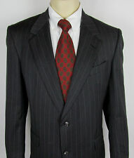 Mens Burberry London Wool Suit jacket 2 button Dark Gray Pinstripe Size 43 L