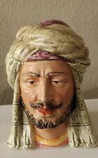 """New listing Antique Majolica Arab Man W/Turban Tobacco Jar Humidor is 6 1/4"""" Tall"""