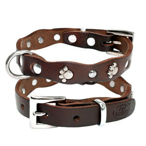 Genuine Leather Dog Collar, Soft, Adjustable, Studded, For S, M Dogs
