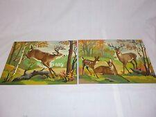 Pr Vtg Paint By Number PBN Painting Deer Haven Craft Master 1960 Cabin Decor