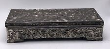 Vtg Godinger Silver Plated Embossed Art Nouveau Footed Rectangle Jewelry Box