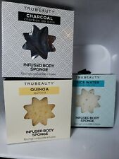 Trubeauty Infused Body Sponge Lot of 3 -Quinoa, Rice Water, & Charcoal 1 each