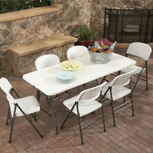 1.8m White Table 6Ft Catering Garden Party Banquet Folding Heavy Duty Table