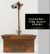 RARE Antique Brass & Glass Architectural Elevator, Fire Extinguisher Stairs Sign